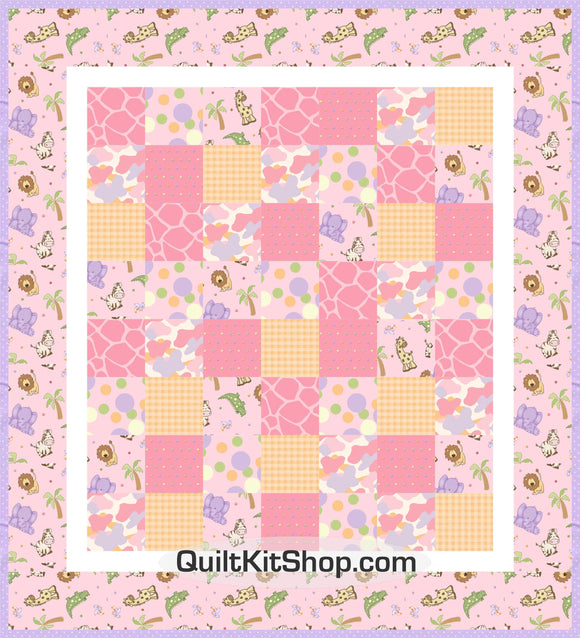 Jungle Toss Pink Easy PreCut Quilt Kit
