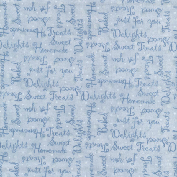Kellys Sweet Treats Words Blue Red Rooster Fabric