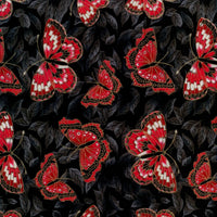 Kiyomi Asian Butterfly Red Black Metallic