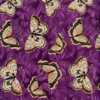 Kiyomi Asian Butterfly Gold Metallic Purple Red Rooster Fabric
