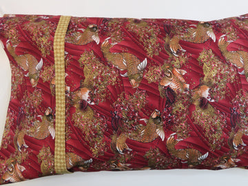 Koi Fish Maroon Gold Pillowcase Travel Pillow Cover
