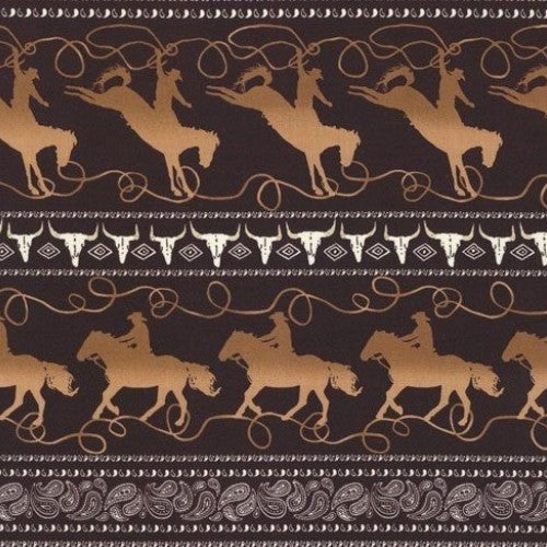 Lasso Stripe Cowboy Rodeo Brown Michael Miller Fabric
