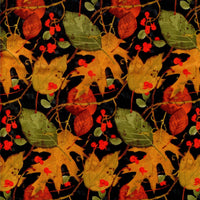 Leaf Toss Autumn Black David Textiles