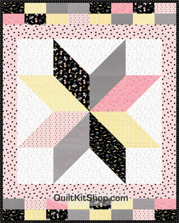 Meow Cat Throw Quilt Kit