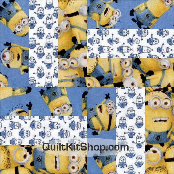 Minions Rail Fence Pre-Cut 12 Block Quilt Kit