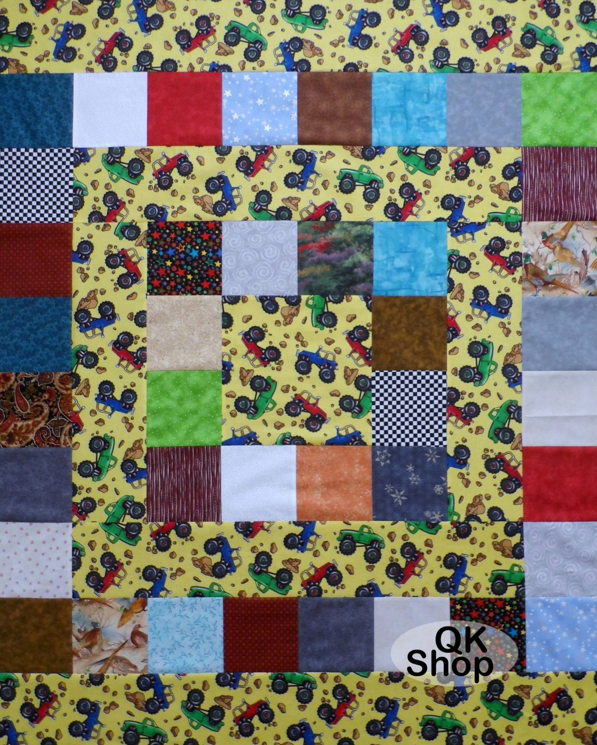 Monster Trucks Allover Baby Quilt Top