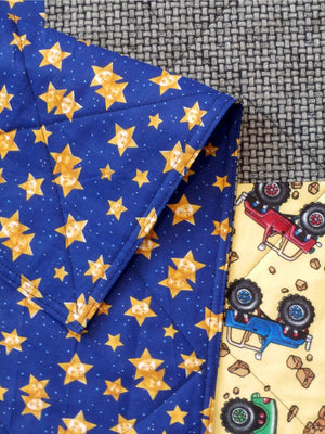 Monster Trucks Stars Finished Baby Quilt