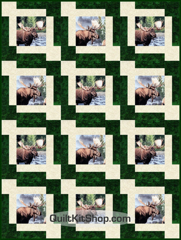 Moose High Country Wilderness Pre-Cut 12 Block Quilt Kit