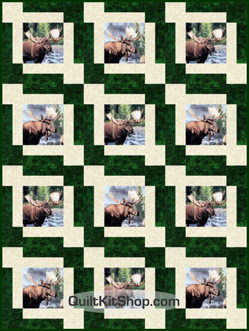 Moose High Country Wilderness PreCut GROW Quilt Kit