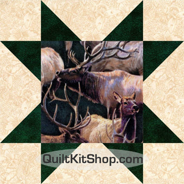Mountain Elk Wildlife PreCut 12 Block Quilt Kit