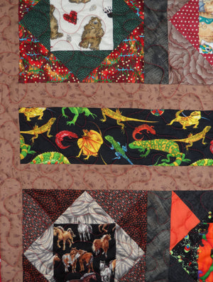My Favorite Pets Finished Quilt Throw 42x65