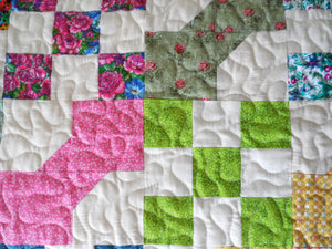 Nine Patch and Bows Handmade Bed Quilt 73x91