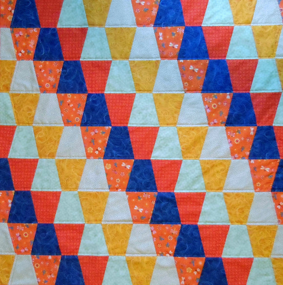 Orange Blue Green Tumbler Quilt