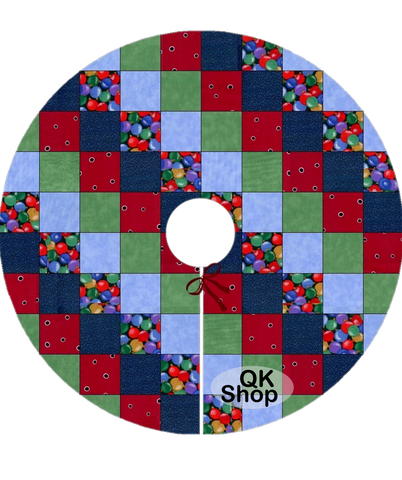 Ornaments Pre-Cut Christmas Tree Skirt Quilt Kit