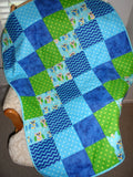 Owls Blue Green Flannel Patchwork Quilt
