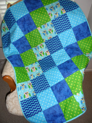 Owls Blue Green Flannel Handmade Crib Quilt