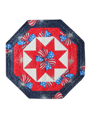 Quilted Table Topper Patriotic Bow