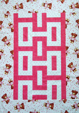 Teddy Bears Pink White Quilt Top