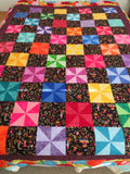 Confetti Pinwheel Handmade Unfinished Quilt Top