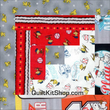 Play Ball Peanuts Baseball Pre-Cut 12 Block Quilt Kit