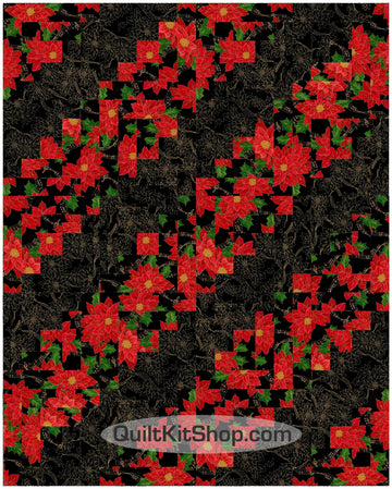 Poinsettia Melody PreCut 20 Block Quilt Kit