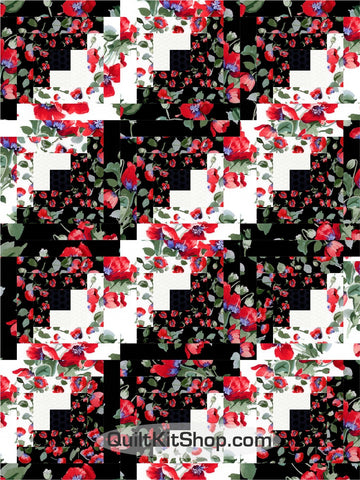 Poppies Tossed PreCut 12 Block Quilt Kit