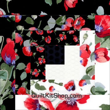 Poppies Tossed Pre-Cut 12 Block Quilt Kit