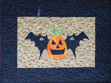 Pumpkin Bats Quilted Table Topper Handmade