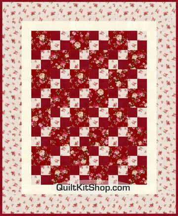 Rose Toss Patches Quilt Kit PreCut