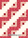 Red Hearts Log Cabin Pre-Cut 12 Block Quilt Kit