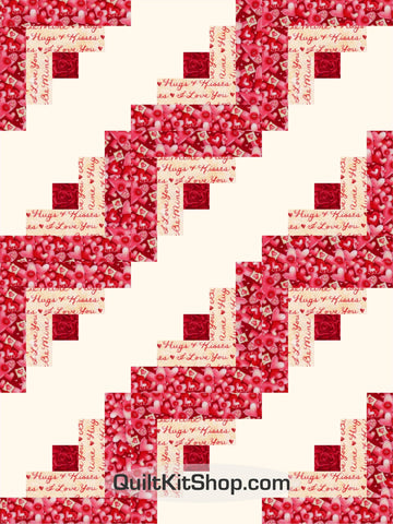 Red Hearts Log Cabin PreCut 12 Block Quilt Kit