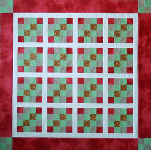 Red Green 16 Patch Baby Quilt Top