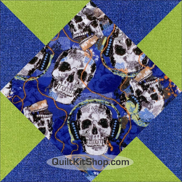 Rock Legends Skulls Pre-Cut 12 Block Quilt Kit