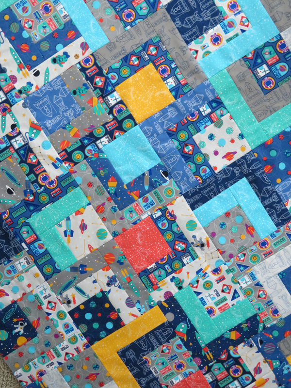 Space Travel Handmade Unfinished Quilt Top