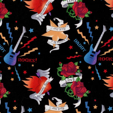 School Of Rock Tattoo Art Black RJR Fabrics