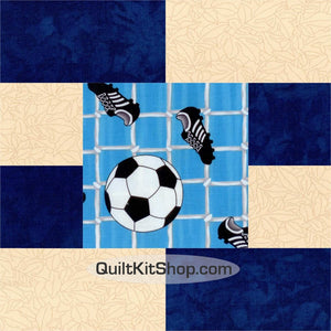 Soccer Goal Net Blue Pre-Cut 12 Big Block Quilt Kit