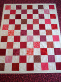 Red Patchwork Beige Quilt Top