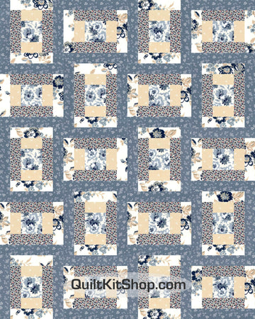 Steel Blue Garden PreCut 20 Block Quilt Kit