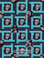 Sugar Skulls Blue PreCut 12 Block Quilt Kit