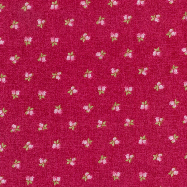 Symphony Rose Bud on Berry Red Rooster Fabric