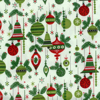 The Vintage Christmas Ornaments Green Red Rooster Fabric