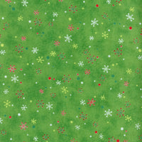 The Vintage Christmas Snowflakes Lt Green Red Rooster Fabric