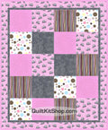 Pink Gray Elephant Easy PreCut Quilt Kit