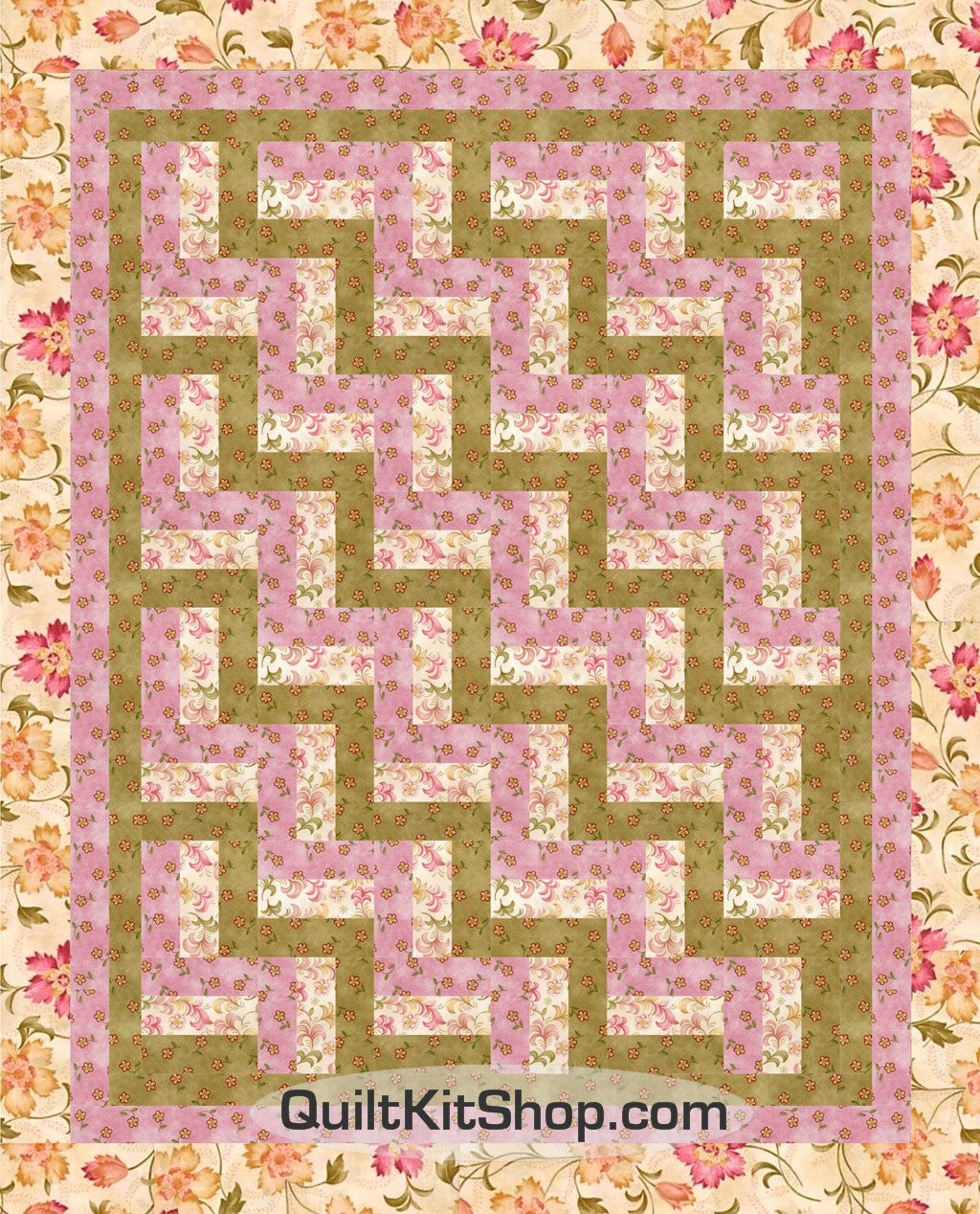Pink Twinkle Flower Rail Fence PreCut Wall Quilt Kit