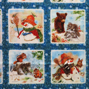 Winter Snowman Friends Panel Spectrix Fabric