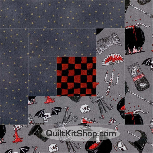 Witches Brew Log Cabin PreCut 12 Block Quilt Kit