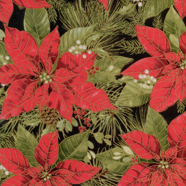 Woodland Christmas Poinsettia Metallic