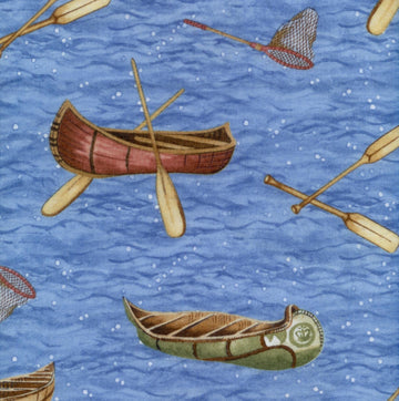 A Lazy Afternoon Canoe Medium Blue Wilmington Prints Fabric