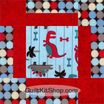 Dino World Blue Pre-Cut 12 Block Quilt Kit