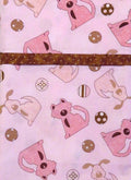 Dogs Pink Brown Handmade Reversible Pillowcase
